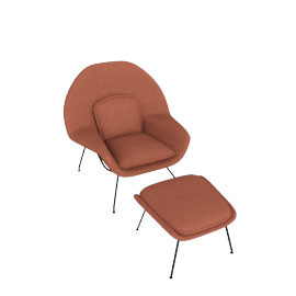 Womb Chair and Ottoman, Melange Henna Fabric, Black Leg