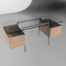 Homework Desk, Double Drawer - Chrome - Oak