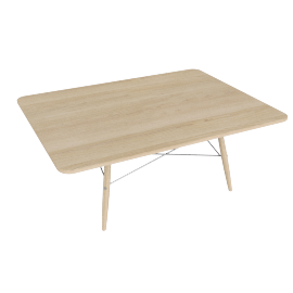 Eames Rectangular Coffee Table, Ash Top, Ash Dowel, White Wire