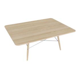 Eames Rectangular Coffee Table, Ash Top, Ash Dowel, White Wire