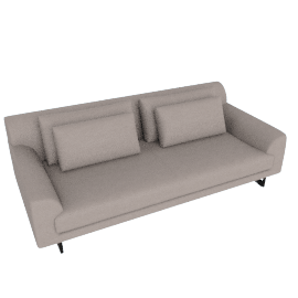 Lecco 93'' Sofa, Kalahari Leather - Grey with Black Base