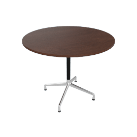 Eames Round Universal 36'', Walnut Top Aluminum Base