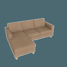 Portia LHF Chaise End Sofa, Camel / Light Leg
