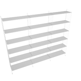 String Floor Shelving - 3 Bay - 32'', White