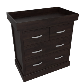 Little Sweetie Nursery 2 over 3 drawer chest w/changer, Dark Wood