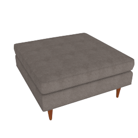 Bantam Cocktail Ottoman in Basket Fabric - Grey.Walnut