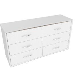 Crescent 6 Drwr Dresser -Hg White/L.Oak
