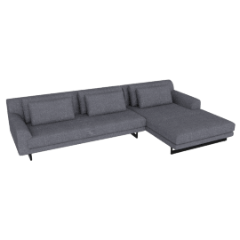 Lecco Sectional with Right Chaise, Pebble Weave Pumice with Black Base