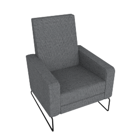 Flight Recliner, Soft Weave Fabric, Pepper w/ Black Base