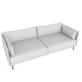 Silhouette Three-Seater Sofa, Cream / Oak