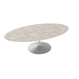 Saarinen Oval Dining Table 96'', Calacatta - Plt.Calacatta