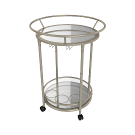 Veneto serving trolley, Brass