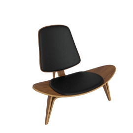 Shell Chair - Walnut - Leather (Thor) - Black