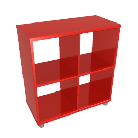 Box Four Cube Unit, Red