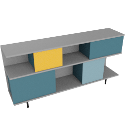 Fowler low shelving unit, multicolor