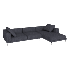 Como Sectional Chaise in Fabric, Right, Lama Tweed, Coal