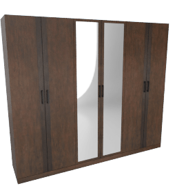 Icon 6-Door Wardrobe with Mirrors and Adjustable Shelves