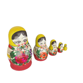 Matryoshka Russian Dolls, Set of 5, Traditional, Small