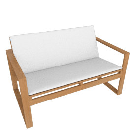 Block Island Two-Seater Sofa with Cushion, With White