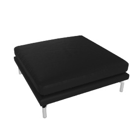 Como Ottoman in Leather, Black