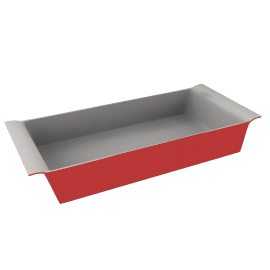 Ceramic Rectangular Dish, Red Lacquer, L32cm