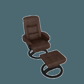 Casper Leather Chair and Footstool, Havana Brown
