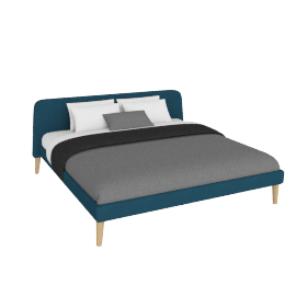 Parallel Cal. King Bed in Fabric, Oak