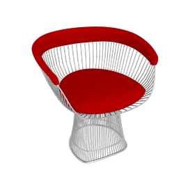 Platner Armchair, Nickel Frame and Knoll Boucle - Crimson