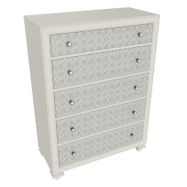 Taj Chest Of 5 Drawers-Pearl Bge/Ant.Silver