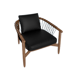 Crosshatch Chair, Walnut Frame, Black Leather Upholstery