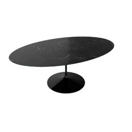 Saarinen Oval Dining Table 78'', Natural Granite - Blk.BlackAndes