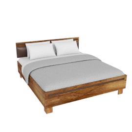 Wolfmoebel SHAN - Bett mit Kopfteil PU braun 180x200