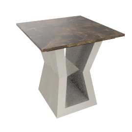 Wellington End Table, Grey/Chrome