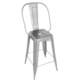 Tolix® Marais Counter Stool with High Back, grey