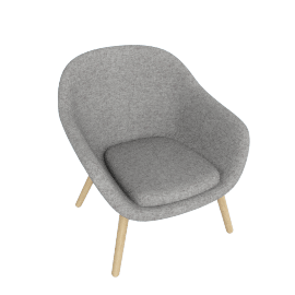 About A Lounge 82 Armchair, Low Back, Hallingdal 0126 Mid Grey / Oak