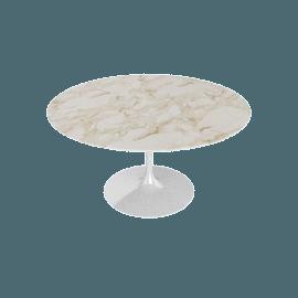 Saarinen Round Dining Table 54'', Coated Marble 1 - Wht.Arabescato