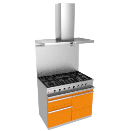 Westahl WG1052GECTAPK1 Dual Fuel Cooker, Hood and Splashback Package, Mandarin
