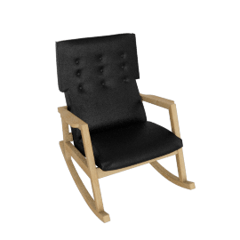 Risom Rocker, Frame -Oak, Elmo Soft Leather -Black