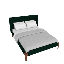 Roscoe King size bed, Pine Green Velvet