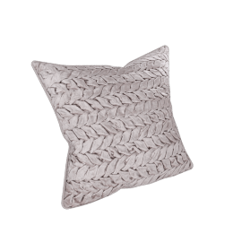 Velvet Smocked Filled Cushion - 45x45 cms, Beige