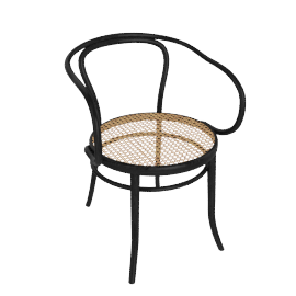 Era Round Armchair with Cane Seat - Black