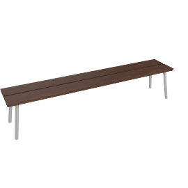 Run 4-Seat Bench, Walnut Top Aluminum Legs