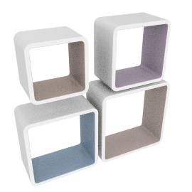 Cosmos Retro Wall Cube 4Pcs Set, White