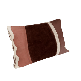 Velvet Stripe Cushion, Brown