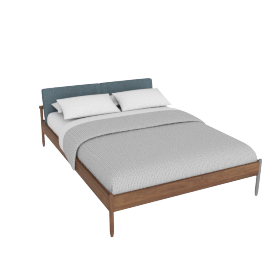 Raleigh Queen Bed, Ducale Wool Robins Egg Walnut Frame