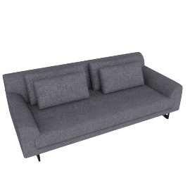 Lecco 93'' Sofa, Pebble Weave - Pumice with Black Base