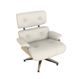 Eames Lounge Chair, White Ash with MCL Pearl Leather