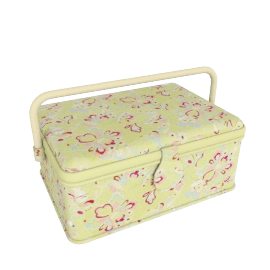 Rectangular Floral Sewing Box, Blue, Small