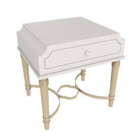 Anteros End Table - Pearl White/Champagne Gold