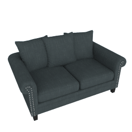 Zia Studded 2-Seater Sofa with Scroll Arms